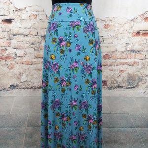 LuLaRoe 2XL Light Blue Pink Floral Maxi Skirt
